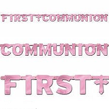 First Communion Large Banner - Foil - Pink