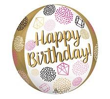 15 in Orbz Shape Happy Birthday Balloon