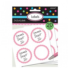 """2"""" New Pink Scalloped Paper Labels"""