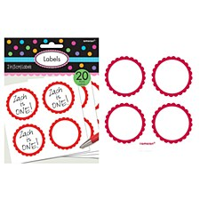 """2"""" Apple Red Scalloped Paper Labels"""