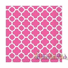 Hot Pink Quatrefoil Bev. Napkin