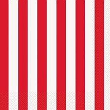 Ruby Red Stripes Lunch Napkins
