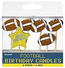Football Birthday Candle Picks 6ct