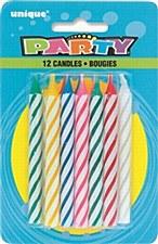 12  Spiral Birthday Candles -