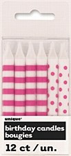 12 Hot Pink Stripes & Dots Birthday Candles