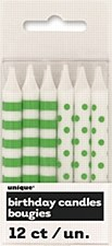 12 Lime Green Stripeds& Dots Birthday Candles