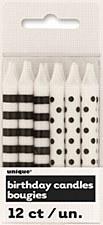 12 Black Stripe & dots Birthday Candles
