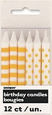 12 Yellow Stripe & Dots Birthday Candles