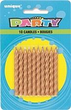 10 Gold Spiral Birthday Candles