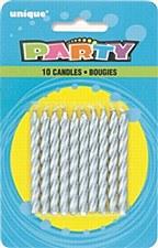10 Silver Spiral Birthday Candles