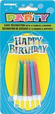 1 Cake Decoration 12 Candle Holders Assorted Colors