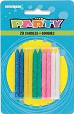 20ct Spiral Glitter Birthday Candles