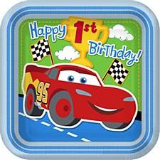 Cars 1st Birthday 9''Plates