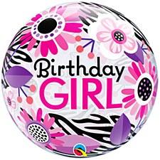 "22""Birthday Girl Floral Zebra Bubbles"