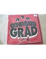 Congrats Grad Ruby Red Bev Napkins