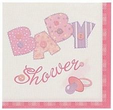 Baby Pink Stitching Beverage Napkins 16ct
