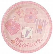 """Baby Pink Stitching 7"""" Dessert Plates 8ct"""
