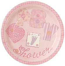 """Baby Pink Stitching 9"""" Lunch Plates 8ct"""