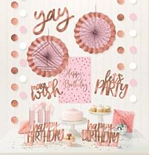 Metallic Blush Birthday Room Decorating Kit