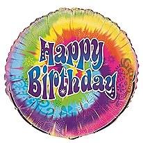 "18"" Tye-Dye Swirl Birthday Foil Balloon"