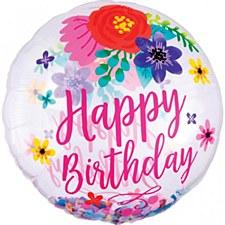 "28""Birthday Floral Fun Confetti"