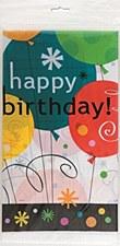 "Breezy Birthday Plastic Table Cover 54"" x 84"""