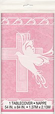 """Dove Cross Pink Plastic Table Cover 54"""" x 84"""""""