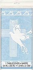"Dove Cross Blue Plastic Table Cover 54"" x 84"""