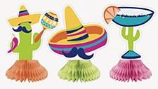 3 Fiesta Honeycomb Decorations