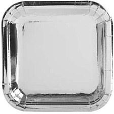 Silver Foil 7in Square Plate