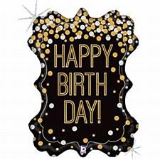 "34""Gold Glitter Birthday"