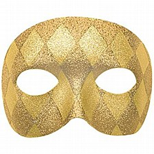 Domino Harlequin Mask with Glitter