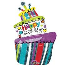 "37"" Funky Birthday Cake Holographic SuperShape"