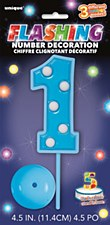 """Flashing Number Decoration - Blue"