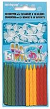 1 Cake Decoration w/ 24 birthday Candles & 18 Holders