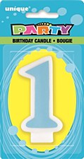 1st Blue B-Day Number Candles