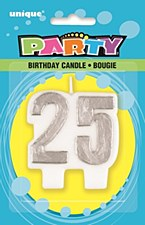 25 Silver Number Candle