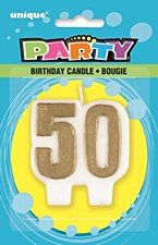 50 Golds Number B-Day Candle