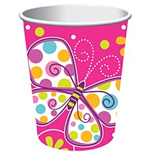 Butterfly Sparkle 9oz Cups, 8ct