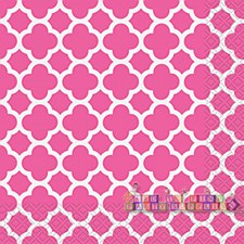 Hot Pink Quatrefoil Lunch Napkins