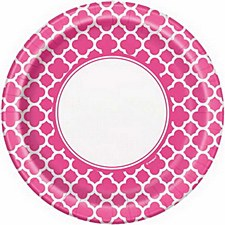 Hot Pink Quatrefoil 9IN Plate