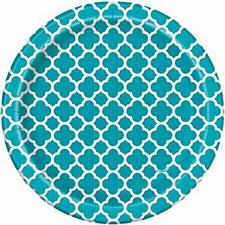 Caribbean Teal Quatrefoil 7IN Plates
