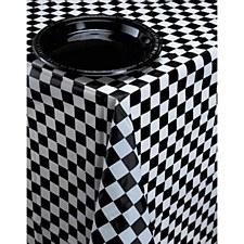 "Black & White Check Plastic Tablecover 54""x108"""
