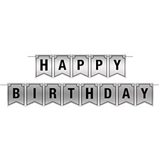 Silver Foil Banner Happy Birthday