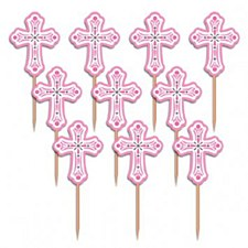 """2.5"""" Pink Religious Party Picks - Wood with Paper Topper - 36ct"""