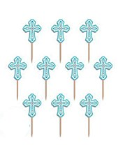 """2.5"""" Blue Religious Party Picks - Wood with Paper Topper - 36ct"""