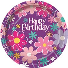 "Birthday Blossom 9"" Dinner Plates 8ct"