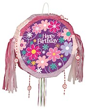 Birthday Blossom Drum Pull Pop-Out Pinata
