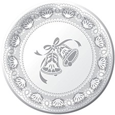 """8 7"""" Silver Lace Wedding Plate"""