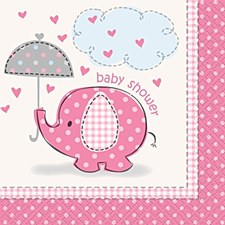 Umbrellaphants Pink Beverage Napkins 16ct